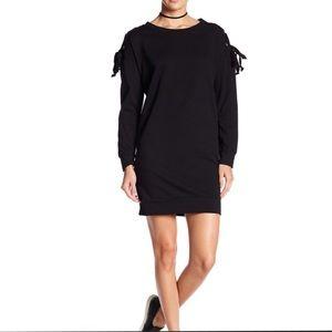 Bobeau Grommet Tie Sleeve Sweatshirt Dress